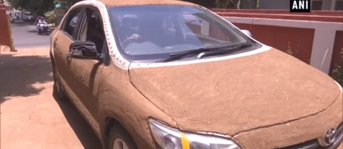 Cow-dung coated car